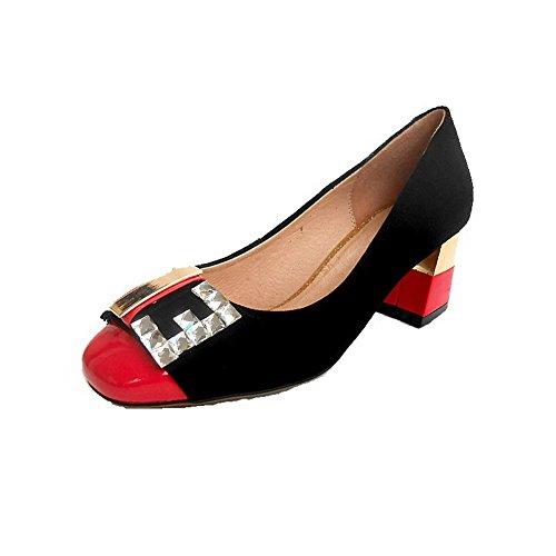 AllhqFashion Femme Mélangées Matière Mélangee à Talon Correct Carré Tire Chaussures Légeres Rouge