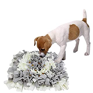 AK KYC Dog Snuffle Mat Pet Nosework Slow Feeding Training Play Puppy Cat Interactive Puzzle Toys Funny Foldable Blanket,Gray&White
