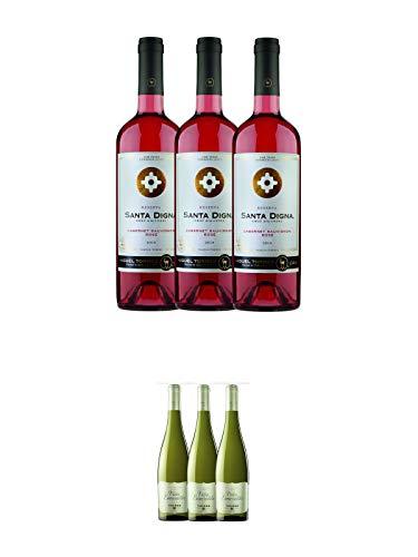 Torres SANTA DIGNA Rose Wein 3 x 0,75 Liter + Torres Miguel Spanien VINA ESMERALDA WEISS Wein 3 x 0,75 Liter -
