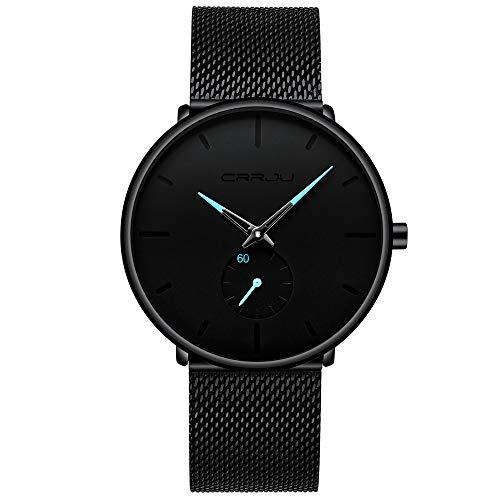 90458522a78e Orologi, uomo nero ultra sottile orologio minimalista moda lusso orologi da  polso per orologio al