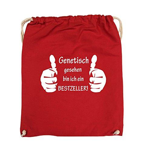 Comedy Bags - Genetisch BESTZELLER - HÄNDE - Turnbeutel - 37x46cm - Farbe: Schwarz / Pink Rot / Weiss