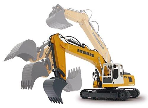 Jamara 405060 - Bagger Liebherr R936 1:20 2,4G - realistische Funktionen (entladen/ aufladen), jedes Gelenk einzeln steuerbar, 660 ° Turmdrehung, Metallschaufel, Motorsound, Hupe, Rückfahrwarnsound - 10
