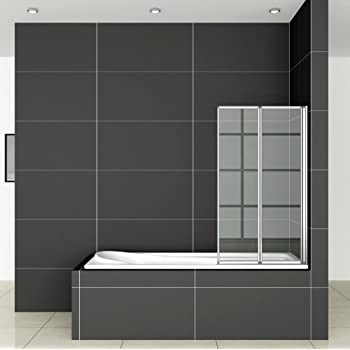 900x1400mm 2 Folding Chrome Shower Bath Screen glass (FF90-2)