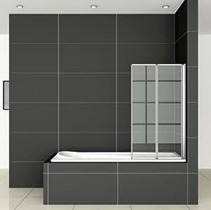 120x140cm Duschabtrennung Badewannenaufsatz 2-teilig Duschwand Badewannenfaltwand FF12-2