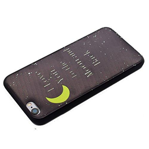 Cozy Hut Handy-Hülle für Apple iPhone 6S / 6 (4,7 Zoll) weiß / Rein schwarz | Ultra Slim Cover für Apple iPhone 6S / 6 (4,7 Zoll) Schutz Hülle TPU Case Schutzhülle Silikon Smartphone Case Tasche Dünn  Mond