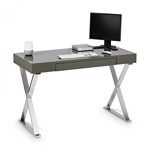 Galdem Schreibtisch Computertisch Arbeitstisch Bürotisch PC-Tisch Grau Hochglanz 76 x 120 x 55 cm