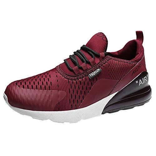 CUTUDE Herren Laufschuhe Sportschuhe Sneaker Fitnessschuhe Laufschuhe Licht Gym Turnschuhe Trekking Wanderhalbschuhe (Wein, 40 EU)