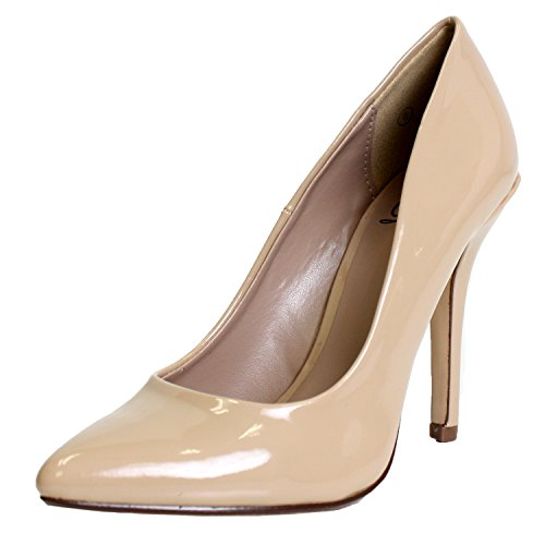 Delicious Damen Cindy Spitzen Zehen Samt Single Sohle Classic Pumpe, Beige (Dark Beige Patent), 40 B(M) EU Patent Stiletto Pump