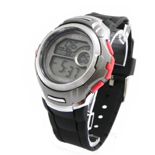 Wrist-watch-sport-Busy-red-gray
