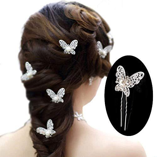 mciskin 20 Stück Schmetterling Perle Kristall Haar Pin Braut mit Kopfbedeckungen Haar Zubehör (Silber) - Pins Braut-haar