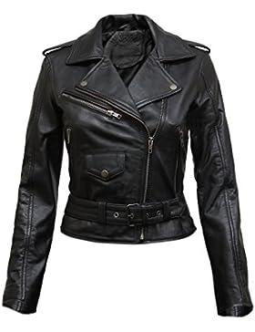 Brandslock para mujer chaqueta de motorista real cuero vendimia