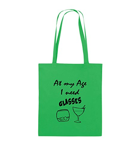 Comedy Bags - At my Age I need GLASSES - Jutebeutel - lange Henkel - 38x42cm - Farbe: Schwarz / Pink Grün / Schwarz