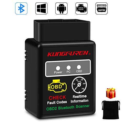 OBD2 Bluetooth, kungfuren OBD2 Diagnosi Adattatore OBD 2 Scanner OBDII ELM327, Lettore di Codice 3000 Code Banca Dati, Compatibile con Android, Windows