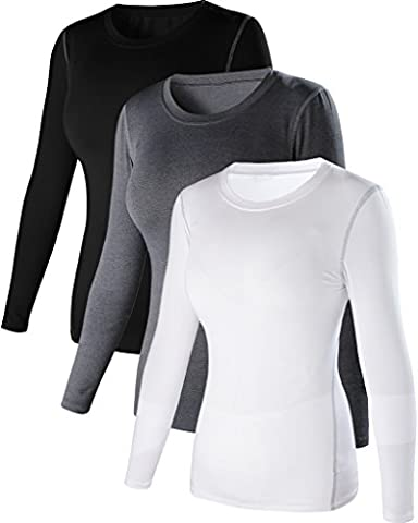 Pour femme Dry Fit Athletic Compression manches longues T-shirt XS 3Pack:Black White Grey
