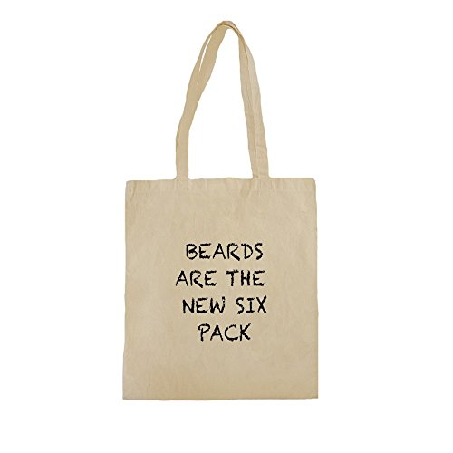 Borse Shopper Cotone con Beards Are The New Six Pack Funny Slogan Phrase stampare. 38cm x 42cm, 10 litri, Natural