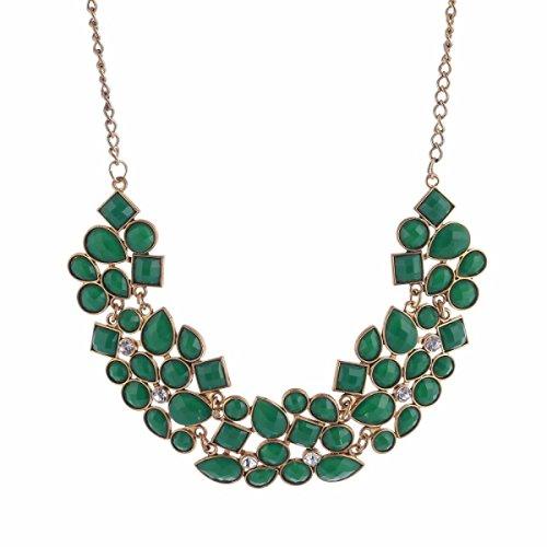 Femme Alliage Collier Réglable De La Mode De Luxe Gemme Exagérée La Chaîne De La Clavicule green