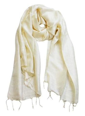 Exklusiv Seidenschal Pure Silk ca. 180 cm x 75 cm uni, Farbe Schals:creme (1)