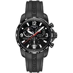 Certina - Reloj de cuarzo para hombre, correa de goma color negro