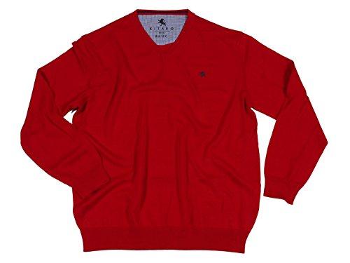 Baumwoll - Pullover mit V-Ausschnitt von Kitaro, rot Rot
