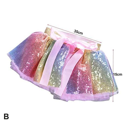 Mädchen Pailletten Rock Baby Tutu Anzug Kinder Prinzessin Gaze Kopfschmuck Zweiteilige Kleid Rock (S) -