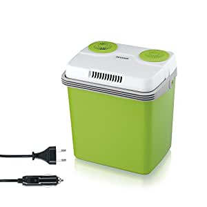 SEVERIN Elektrische Kühlbox mit Kühl- und Warmhaltefunktion, 20 L, Inkl. 2 Anschlüsse: 220-240V/12V DC, KB 2922, Grün-Grau