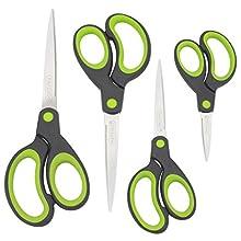 Rapesco Soft Grip Handle Scissors - Set of 4 (Green)