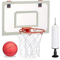Relaxdays Panier de Basket-Ball Unisexe pour Chambre avec Ballon et Pompe à air, Planche à Repasser à la Porte sans perçage, Multicolore, Blanc/Rouge, H x l x P : env. 45 x 45 x 33 cm