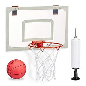 relaxdays Basketballkorb fürs Zimmer, im Set mit Ball und Luftpumpe,...