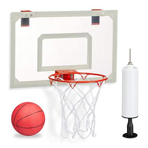 relaxdays Basketballkorb fürs Zimmer, im Set mit Ball und Luftpumpe, Backboard zum an die Tür hängen, ohne Bohren, Mehrfarbig