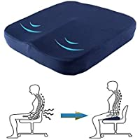 Gluckluz Seat Cushion Coccyx Donut Pillow Car Chair Pad Memory Foam for Home Office Car Men Women Indoor Orthopedic Wheelchair Airplane (Blue)
