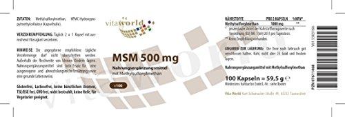 3er Pack Vita World MSM 500mg 300 Kapseln Apotheker-Herstellung