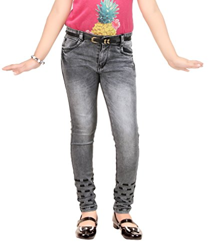 Clench Girl's Full Length Pattern Denim Jeans With Belt  available at amazon for Rs.999