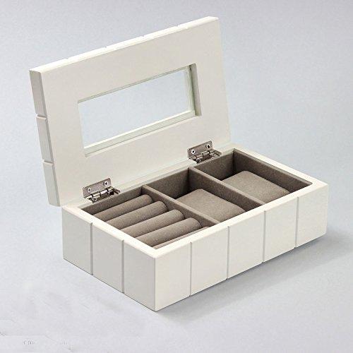 Charming House Design Kleine Schmuckkästchen aus Holz weiß mit Schubladen Schmuck Schrank Box Truhe (Schmuck-box Mit Schubladen)