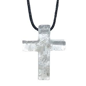 1 Stück Bergkristall Kreuz schönes großes Edelsteinkreuz ca. 45 x 35 x 8 mm mit einer ca. 2,5 mm Bohrung.(4902)