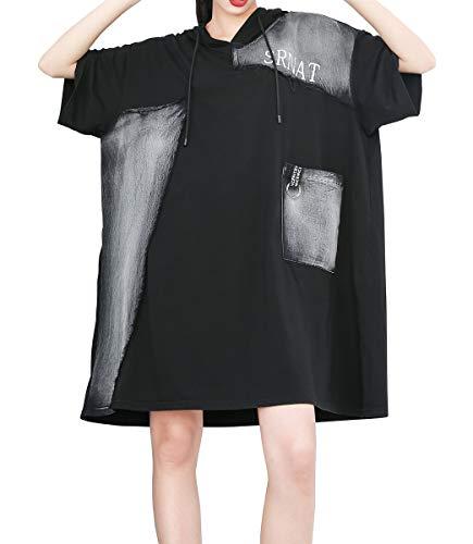 Weicher Pullover Kleid (ELLAZHU Women Sommer Schwarz T-Shirt Hoodie Kleid GY1764)