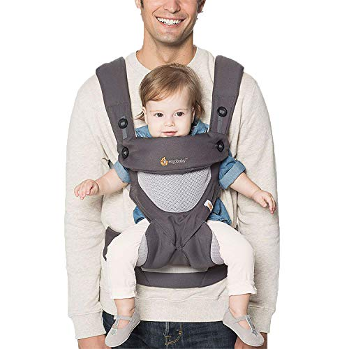 Ergobaby Babytrage 360 - Cool Air Carbon Grey, 4-Positionen Baby-Tragesystem für Kleinkind, Baby-Tragetasche Rückentrage