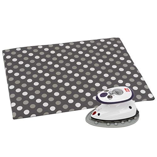 SEMPLIX Bügel Set – Bügelunterlage mit rutschhemmender Rückseite 30 x 40 cm, Mini Bügeleisenablage 10,5 x 15,5 cm, Prym Mini Dampf Bügeleisen (grau/grau)