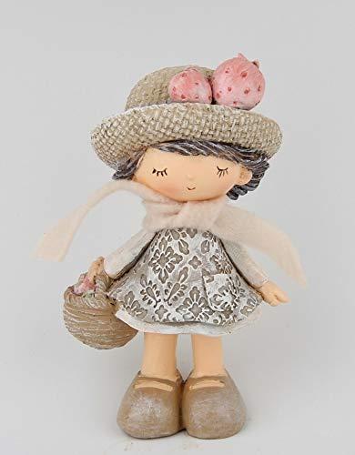 AmaCasa Figur Mädchen mit Erdbeeren und Körbchen 10cm Polyresin | Deko Sammlerstück Lieblingsstück
