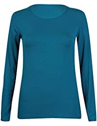 New Ladies Plain Stretch Fit Long Sleeve Womens T-Shirt Round Neck Basic Top Teal Size 8-10