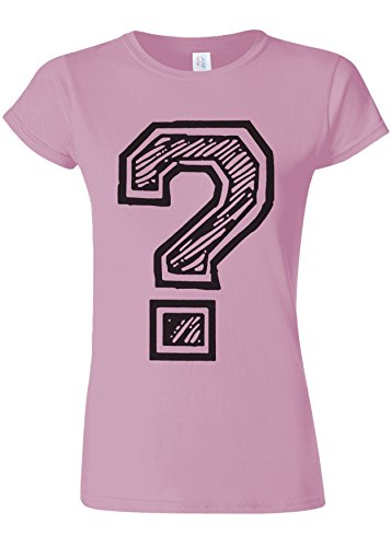 Question Mark Geek Novelty White Women Damen Top T-shirt Verschiedene Farben Licht Rosa