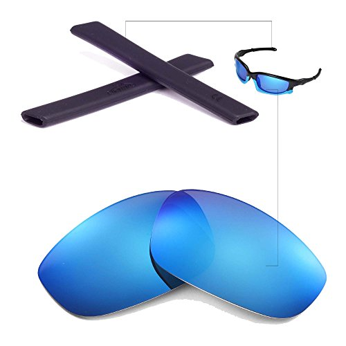 Walleva Wechselgläser Und Earsocks für Oakley Split Jacket Sonnenbrille - Mehrfache Optionen (Eisblau Polarisierte Linsen + Schwarzer Gummi)