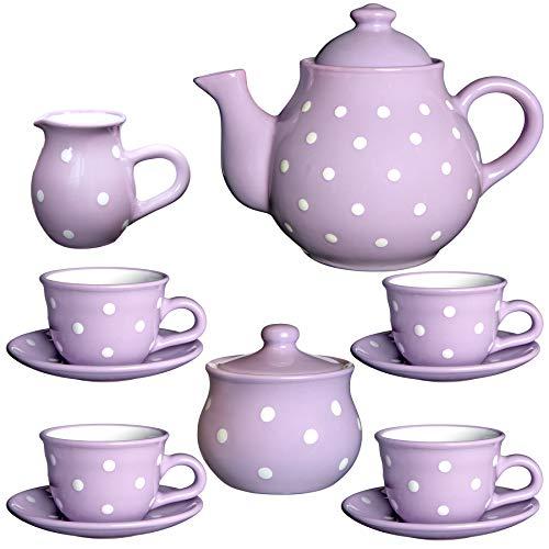 Juego de tetera de cerámica con diseño de lunares blancos y violeta de City to Cottage hecho a mano, tamaño grande, 137 l/60 oz/4 – 6 tazas de tetera, jarra de leche, azucarero, cuatro tazas y platillos, set de té, regalo para los amantes del té.