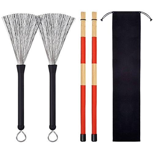 2 Paar 5A Drumsticks,Klassisch Ahornholz Drumsticks Sets mit 2 Paar Drum Drahtbürsten Einziehbar Drum Sticks Pinsel Geeignet für Musiker