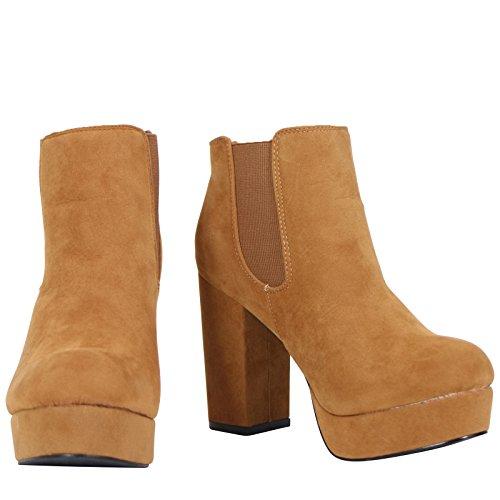 Neue Damen High Heel Plattform Slip On Chelsea Knöchel Boots Schuhe Größe 3–8 Braun - Tan Suede