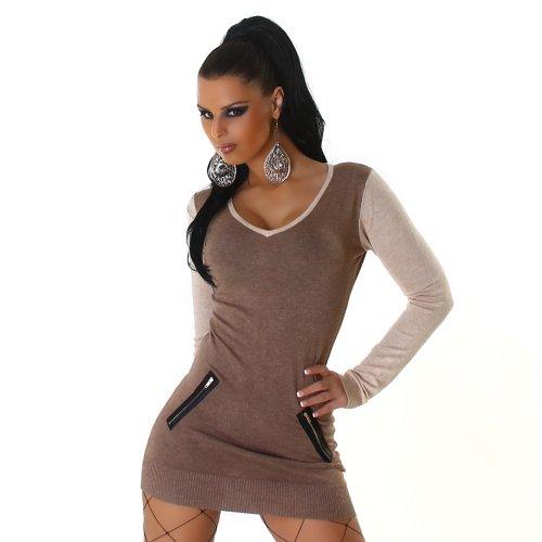Jela London Maglione camicia maglione a manica lunga scollo a V maglione vestito lungo ponticello lunga da Donna vestire una taglia 36,38,40,42 Marrone