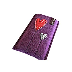 Handytasche Samsung Galaxy A5 2018 Handyhülle Smartphone Filzhülle Handy Hülle Tasche Cover Case Filz Wollfilz herz am stiel kinkerlitzchen handmade herzballon herzblume verspielt Geschenk Freundin