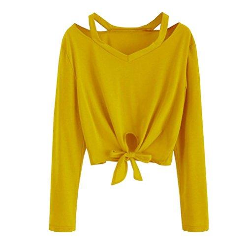 ESAILQ Damen Kurzarm Bluse Schulterfrei Batwing Weit Rundhals Carmen Oberteil Tops T-Shirt Sommerbluse(M,Gelb)