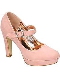Damen Mary Jane Riemchen Pumps Stilettos High Heels Plateau Schuhe E22 (41 Pink)