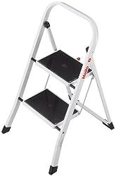 Hailo K20 BasicLine Stahl-Trittleiter, 2 Stufen, Sicherheitsb?gel, Klappsicherung, einfach zu verstauen, belastbar bis 150 kg, silber, 4396-901