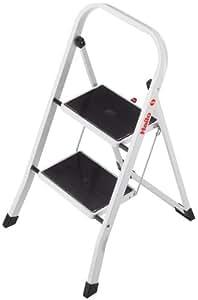 Hailo K40 BasicLine Stahl-Trittleiter, 2 Stufen, Sicherheitsbügel, Klappsicherung, einfach zu verstauen, belastbar bis 150 kg, 4396-901